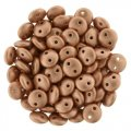 Lentil Beads 2-Hole 6mm - Matte Metallic Copper 50pcs