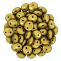 Lentil Beads 2-Hole 6mm - Matte Metallic Aztec Gold 50pcs