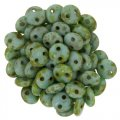 Lentil Beads 2-Hole 6mm - Picasso Opaque Turquoise 50pcs