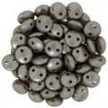 Lentil Beads 2-Hole 6mm - Pearl Coat Grey / Brown (cocoa) 50pcs