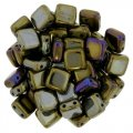 Tile Beads 6mm Square 2-Hole - Brown Iris (25)