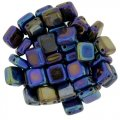 Tile Beads 6mm Square 2-Hole - Blue Iris (25)