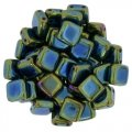 Tile Beads 6mm Square 2-Hole - Green Iris (25)