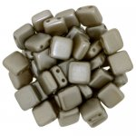 Tile Beads 6mm Square 2-Hole - Pearl Coat Grey Brown Cocoa (25)