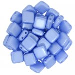 Tile Beads 6mm Square 2-Hole - Pearl Coat Blue (25)
