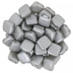 Tile Beads 6mm Square 2-Hole - Pearl Coat Silver (25)