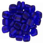Tile Beads 6mm Square 2-Hole - Cobalt (25)