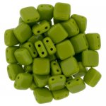 Tile Beads 6mm Square 2-Hole - Opaque Olive (25)