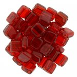 Tile Beads 6mm Square 2-Hole - Siam Ruby (25)