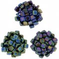 Czechmate 6mm Square 2-Hole Tile Beads - 3 Color Iris Mix