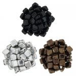 Czechmate 6mm Square 2-Hole Tile Beads - 3 Color Metallics Mix