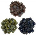 Czechmate 6mm Square 2-Hole Tile Beads - 3 Color Picasso Mix 2