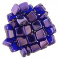 Tile Beads 6mm Square 2-Hole - Cobalt Vega (25)