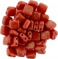 Tile Beads 6mm Square 2-Hole - Gold Marble Opaque Red (25)