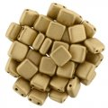 Tile Beads 6mm Square 2-Hole - Matte Metallic Flax (25)