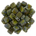 Tile Beads 6mm Square 2-Hole - Picasso Opaque Olive (25)