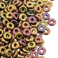 Czech O-Beads 3.8 mm x 1 mm Purple Iris Gold 8.1GM