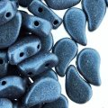 Czech Paisley Duo Beads 8x5mm 10GM Metallic Suede Blue