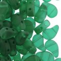 Czech Paisley Duo Beads 8x5mm 10GM Matte Emerald Green