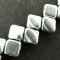 Czech Glass 2-hole Silky Beads 6mm (40) Full Labrador (Silver)