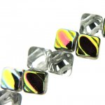 Czech Glass 2-hole Silky Beads 6mm (40) Crystal Vitrail