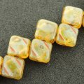 Czech Glass 2-hole Silky Beads 6mm (40) Milky Jonquil Picasso