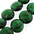 Silver Foil Round Disc Beads 20mm 15pcs/str Emerald Green