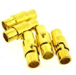 Kumihimo End Cap / Magnetic Clasp 15mm Gold (5 Sets) 4mm hole