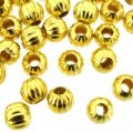 Spacer Round Corrugated Fluted 6mm Gold Plated. Pack of 100