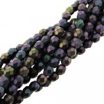 Fire Polished Faceted 4mm Round Beads 100pcs - Matte Purple Iris