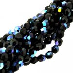 Fire Polished Faceted 4mm Round Beads 100pcs - Jet Black AB