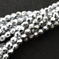 Fire Polished Faceted 4mm Round Beads 100pcs - Bright Silver