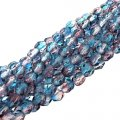 Fire Polished Faceted 4mm Round Beads 100pcs - Aqua/Fuchsia