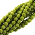 Fire Polished Faceted 4mm Round Beads 100pcs - Opaque Olive