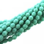 Fire Polished Faceted 4mm Round Beads 100pcs - Opq Turquoise