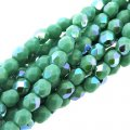 Fire Polished Faceted 4mm Round Beads 100pcs - Opq Turquoise AB
