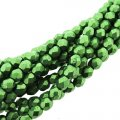 Fire Polished Faceted 4mm Round Beads 100pcs - Metallic Kale