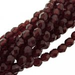 Fire Polished Faceted 4mm Round Beads 100pcs - Ruby Red
