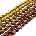 6 Colors Set Fire Polished Faceted 4mm Round Beads - Mat Mtlcs