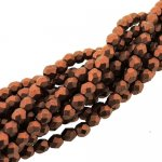 Fire Polished Faceted 4mm Round Beads 100pcs - Mat Mtlc Copper