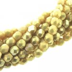 Fire Polished Faceted 4mm Round Beads 100pcs - LS Iris Ant Beige