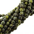 Fire Polished Faceted 4mm Round Beads 100pcs - Picasso Opq Olive