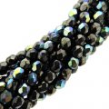 Fire Polished Faceted 4mm Round Beads 100pcs - Hematite AB