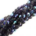 Fire Polished Faceted 4mm Round Beads 100pcs - Tanzanite AB