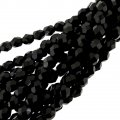 Fire Polished Faceted 6mm Round Beads 6/str - Black