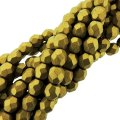 Fire Polished Faceted 4mm Round Beads 6/str - Metallic Aztec Gld