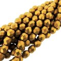 Fire Polished Faceted 4mm Round Beads 6/str - Matte Mtlc Ant Gld