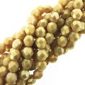 Fire Polished Faceted 4mm Round Beads 6/str - LS Iris Ant Beige