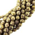 Fire Polished Faceted 4mm Round Beads 6/str - Opq Gold/Sm Topaz