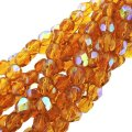 "Fire Polished Faceted 6mm Round Beads 6""str - Medium Topaz AB"